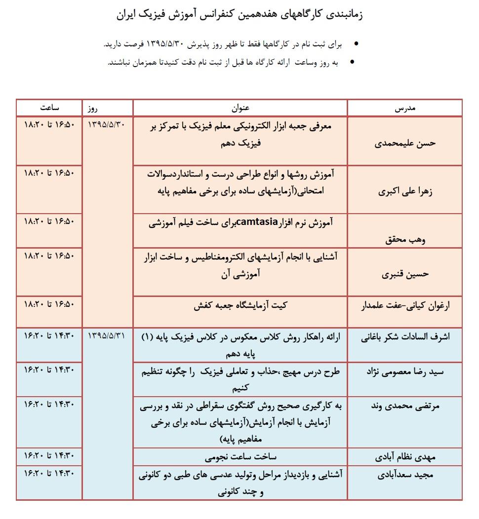 برنامه زمانبندی کارگاه های هفدهمین کنفرانس آموزش فیزیک ایران